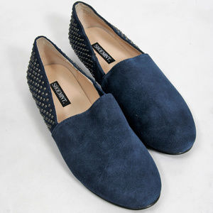 NEW Shoemint Navy Leather Studded Loafer- Size 6